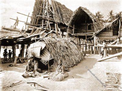Trauernde, Totenhaus, Kalo, Papua-Neuguinea, J. W. Lindt, Kolonialismus