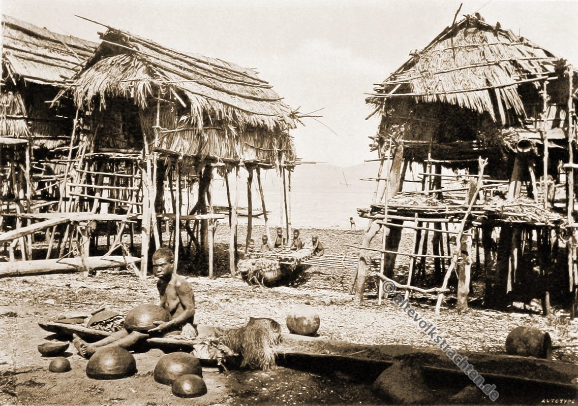 Pottery, Native, dress, Papuasia, Papua New Guinea, J. W. Lindt,