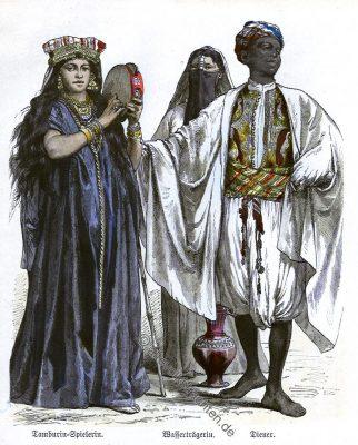 Tamburin Spielerin, Wasserträger, Diener, Ägypten, Trachten, Kostüme, Münchener Bilderbogen, Kostümgeschichte,