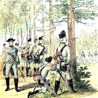 Tiroler Scharfschützen Corps. Ende des 18. Jahrhunderts.