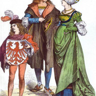 Deutsche Bürgertrachten um 1520. Münchener Bilderbogen.