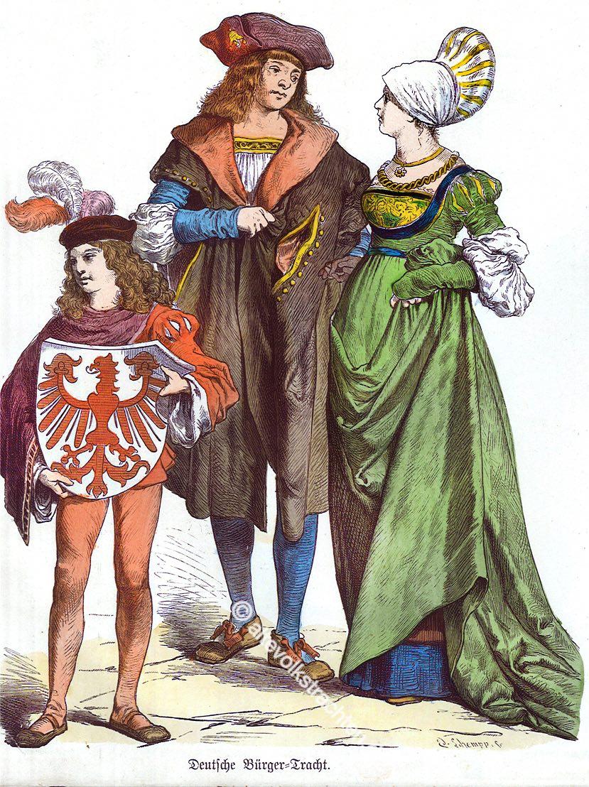 Bürgertrachten, Renaissance, Deutschland, 16. Jahrhundert, Schaube