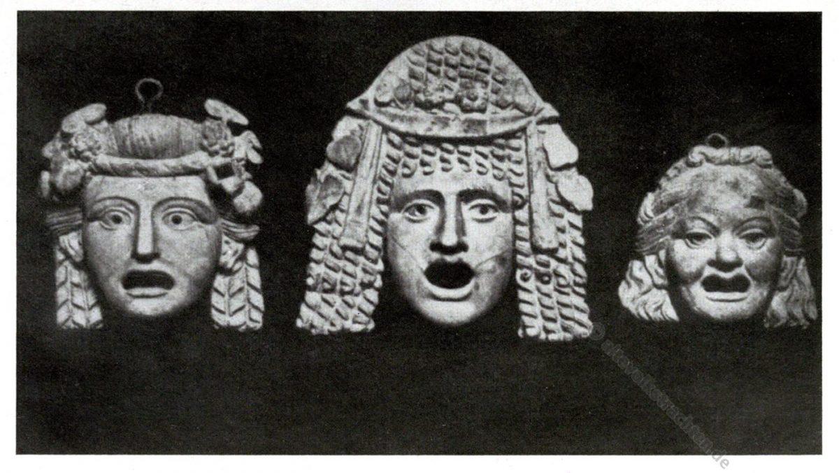 Antike, Masken, Pompeji, Weibliche, Theatermasken,