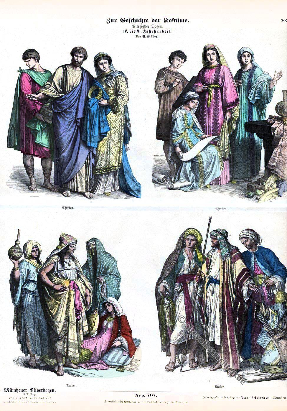 Christen, Araber, Mittelalter, Kleidung, Kostümgeschichte, Münchener Bilderbogen