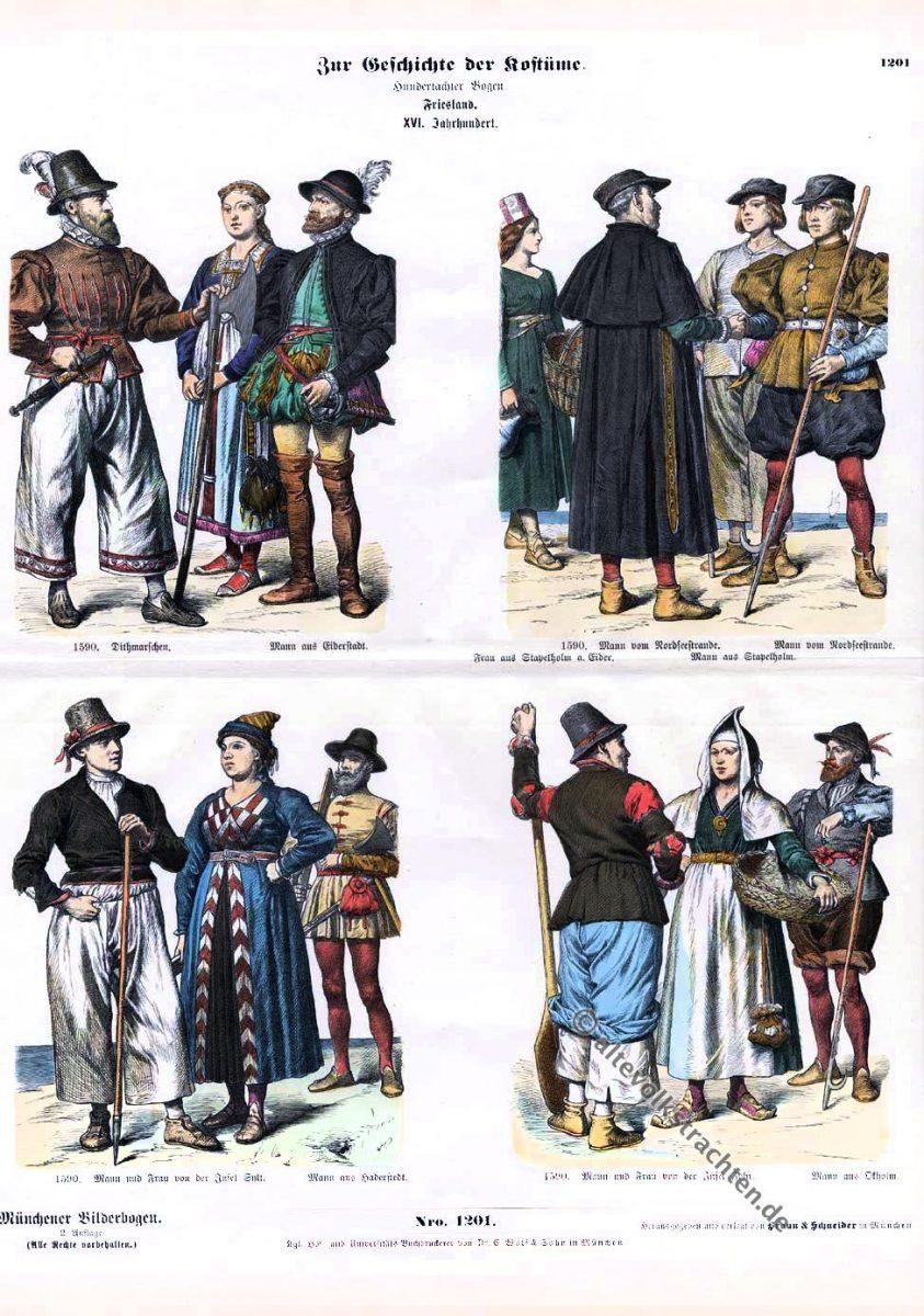 Friesland, Trachten, 16. Jahrhundert, Sylt, Föhr, Schleswig-Holstein, Münchener Bilderbogen