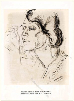 Maria Orska, Lithographie, R. L. Leonard, STYL Modemagazin, 1920er, Modegeschichte, Art deco,