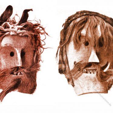 Zwei Masken aus dem Lötschental Wallis, um 1870.
