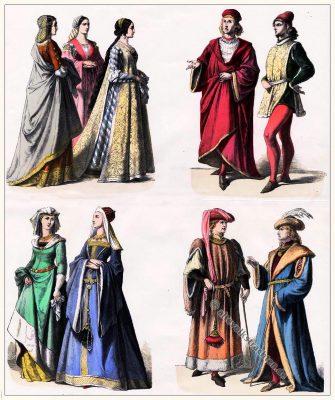 Münchener Bilderbogen, Edeldamen, Edelmänner, Florenz, Italien, Frankreich, Renaissance, Kostümgeschichte