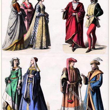 Mode der Edeldamen, Edelmänner um 1450. Münchener Bilderbogen.