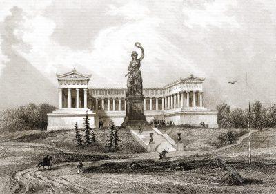 München, Bavaria, Ruhmeshalle, Stahlstich, Rouargue Frères, Antique, 19. Jahrhundert, Xavier Marmier