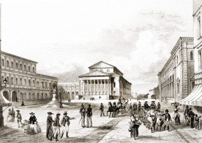 München, Nationaltheater, Munich, Théatre, Stahlstich, Rouargue Frères, Antique, 19. Jahrhundert, Xavier Marmier