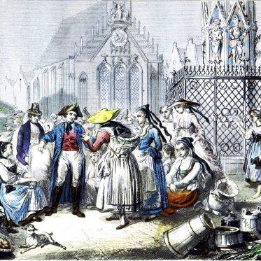Markt am Schönen Brunnen zu Nürnberg 1859.