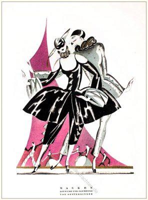 Masken, Zeichnung, Annie, Offterdinger, Styl, Modemagazin, 1920er, Modegeschichte, Art deco,