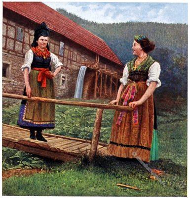 Trachten, Frauentrachten, Thüringen, Wald, Rose Julien, Deutsche Volkstrachten