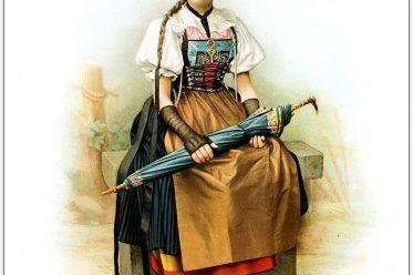 Trachten, Aargau, Freiamt, Schweiz, Strohhut, Amulett, Kostümgeschichte