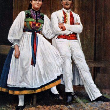 Trachten aus Betzingen, Reutlingen um 1912.