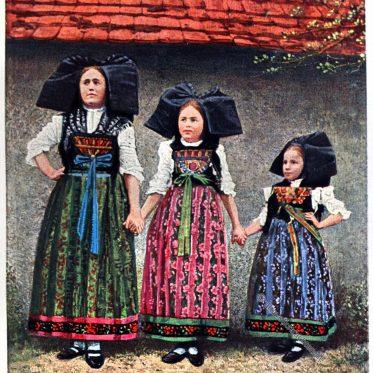 Frauen Trachten aus Mietesheim, Elsass.