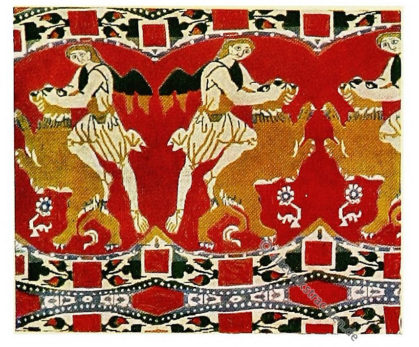Samson, Ägypten, Alexandrien, Simsonstoff, Samson, Antike, Textilien, Stoffe, Muster, Gewebe