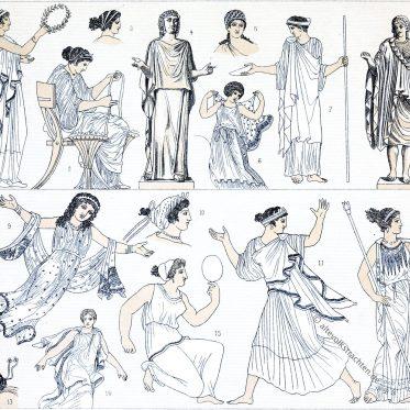Endymata und Epiblemata. Antike. Griechische Frauentrachten.