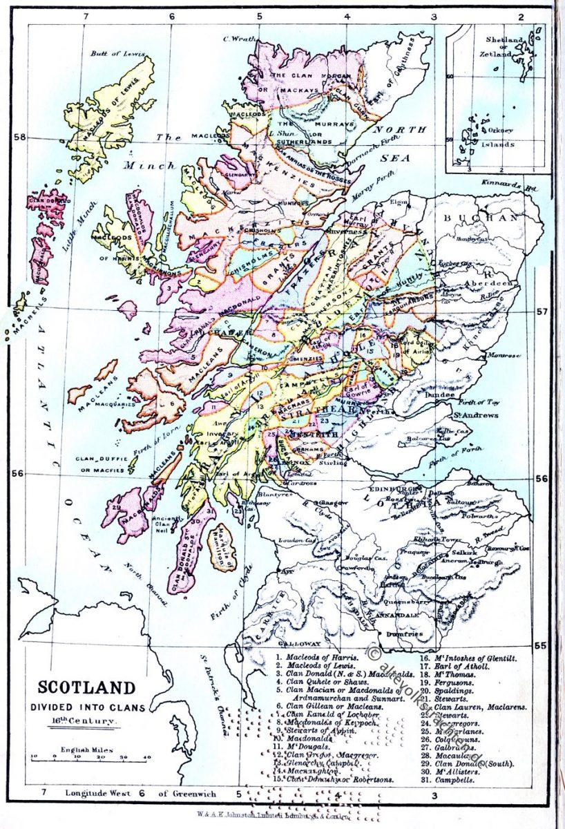Landkarte, Clans, Schottland, 16. Jahrhundert