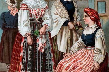 Frauentrachten, Baltikum, Litauen, Volkstrachten, Albert Kretschmer, Drobule, Marginne, Pamusztinis, Moteres, Baschlik, Pareszken, Baranka