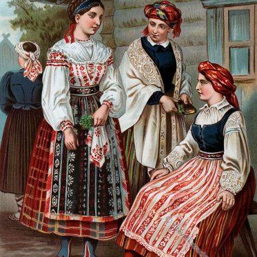 Historische Volkstrachten in Litauen um 1870.