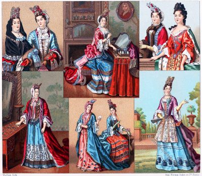 Barock, Kostüme, MODE, KAPOTTE, BASKINE, MUFF, Auguste Racinet, Modegeschichte