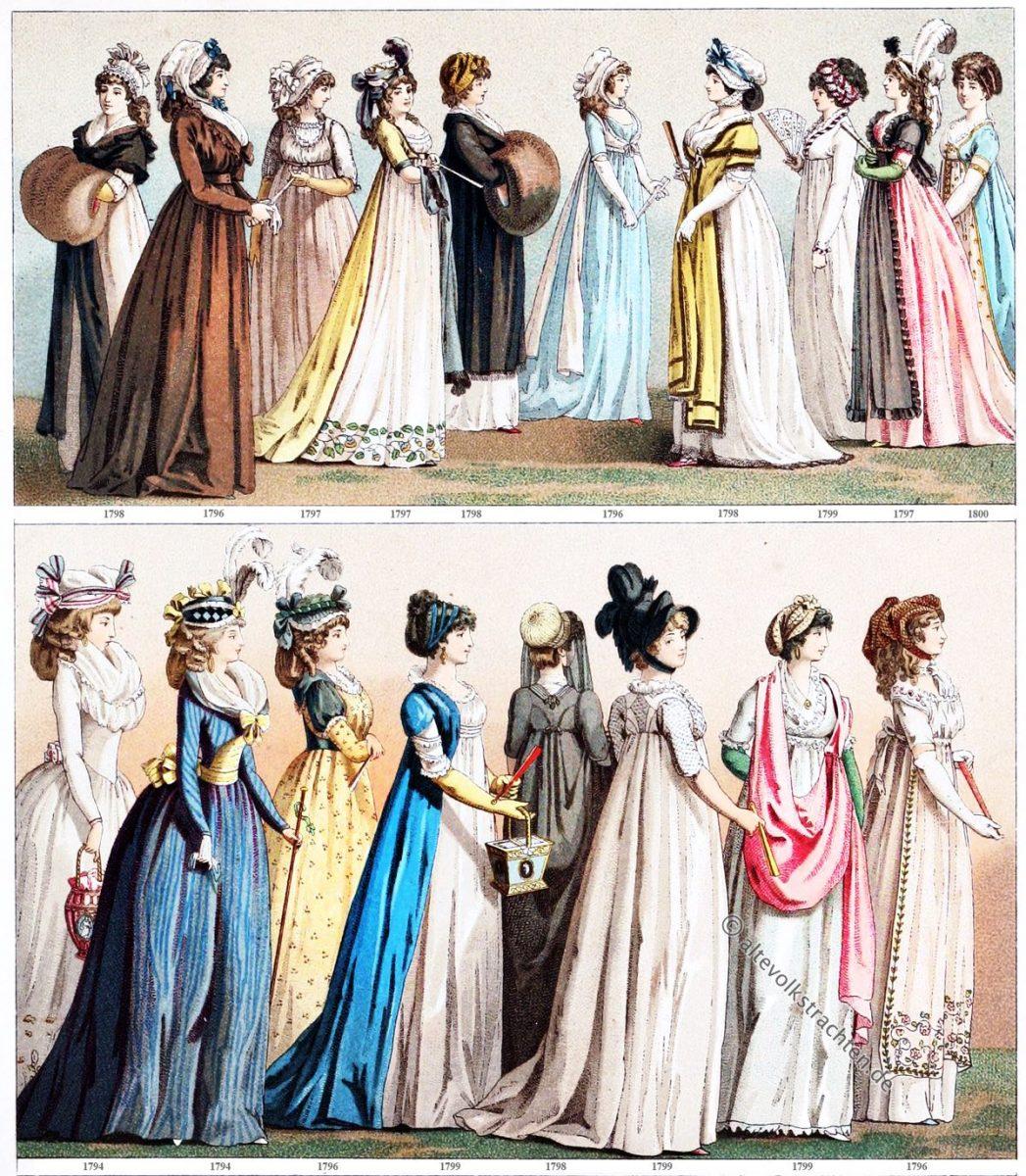 Mode, Kostüme, Frankreich, Direktorium, Empire, Modegeschichte, Auguste Racinet, 18 Jahrhundert, Klassizismus