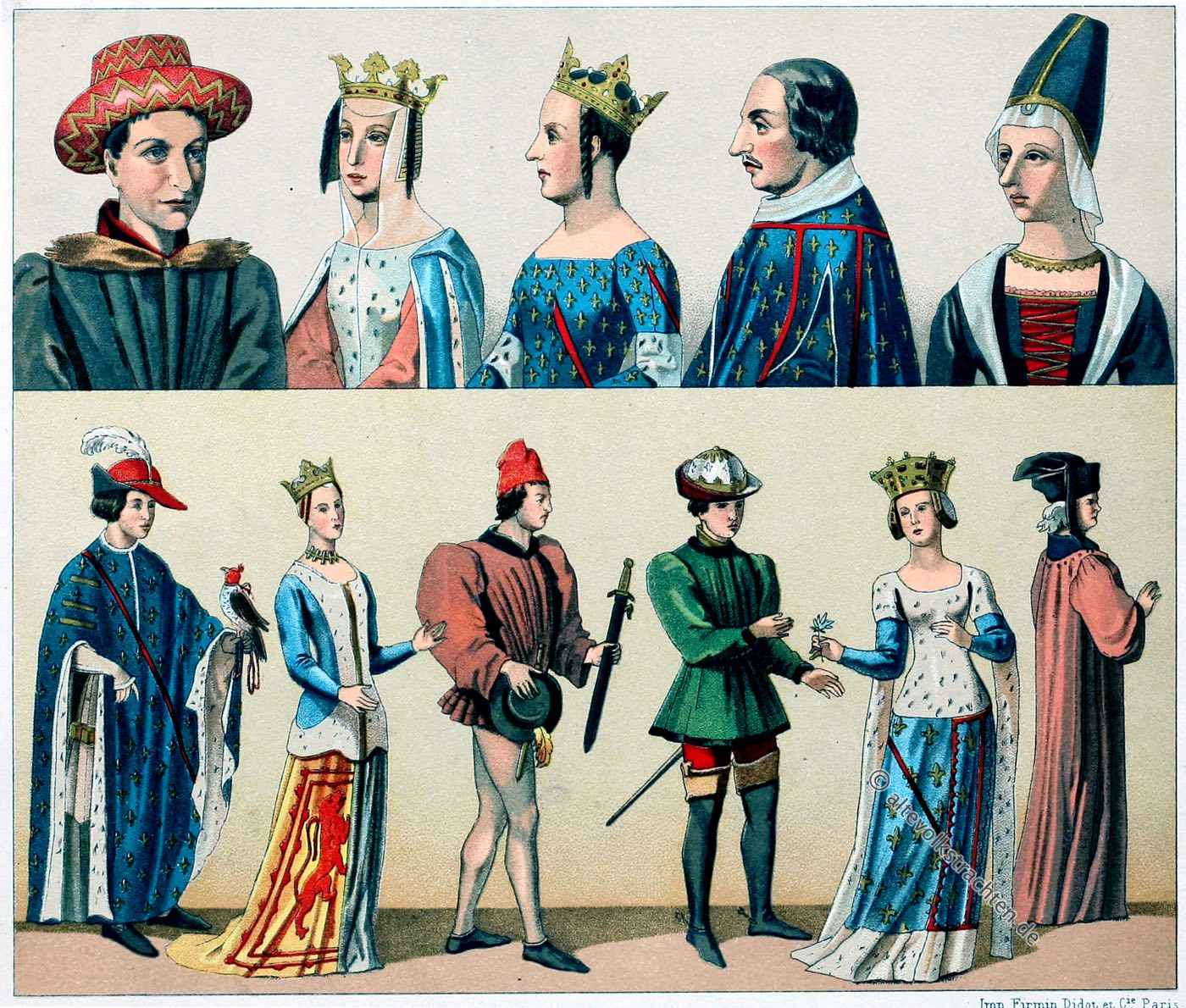 Mode, Kostüm, Mittelalter, 14. Jahrhundert, Hennin, Modegeschichte, Auguste Racinet