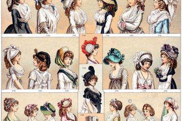 Modegeschichte, Direktorium, Empire, Regency, Klassizismus, Frankreich, 18. Jahrhundert, Auguste Racinet