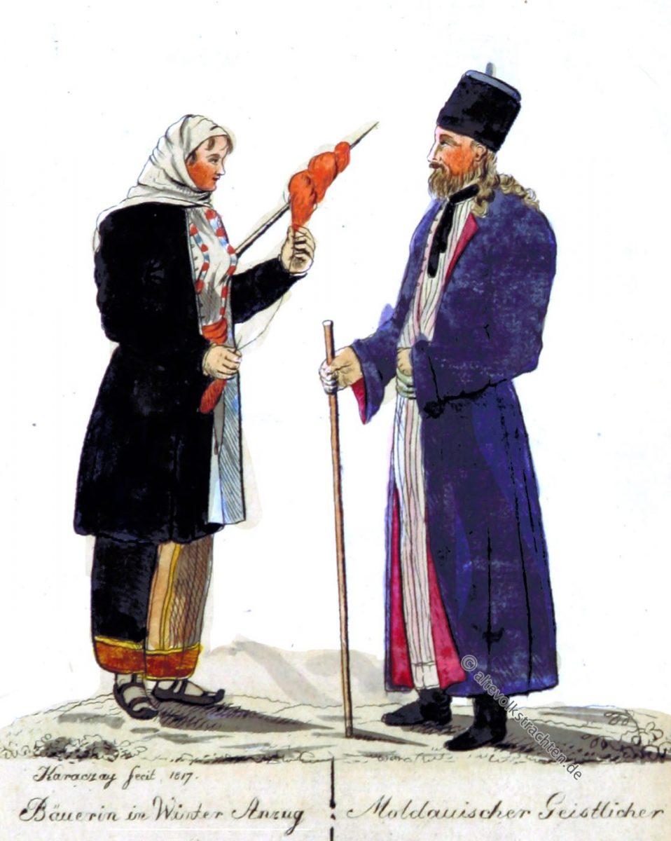 Trachten, Kostüme, Moldawien, Moldova, Moldoweni, Geistlicher, Bäuerin, Fedor von Karacsay