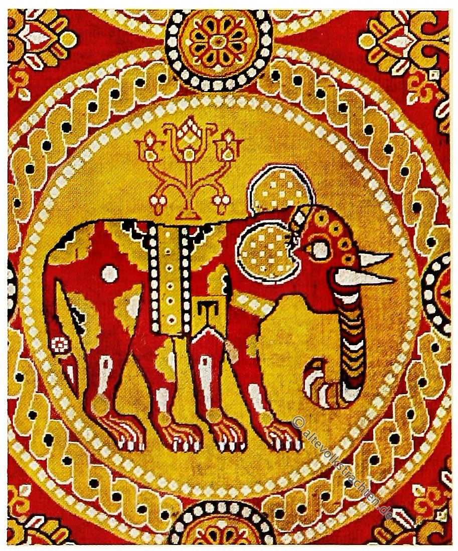 Elefantenstoff, Persien, Antike, Textilien, Stoffe, Muster, Gewebe, Webkunst, Elefantenmuster