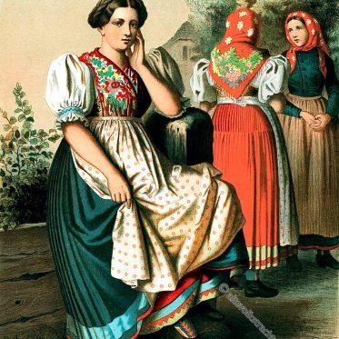 Die stattliche Mädchentracht aus der Gegend bei Oppeln, Oberschlesien.