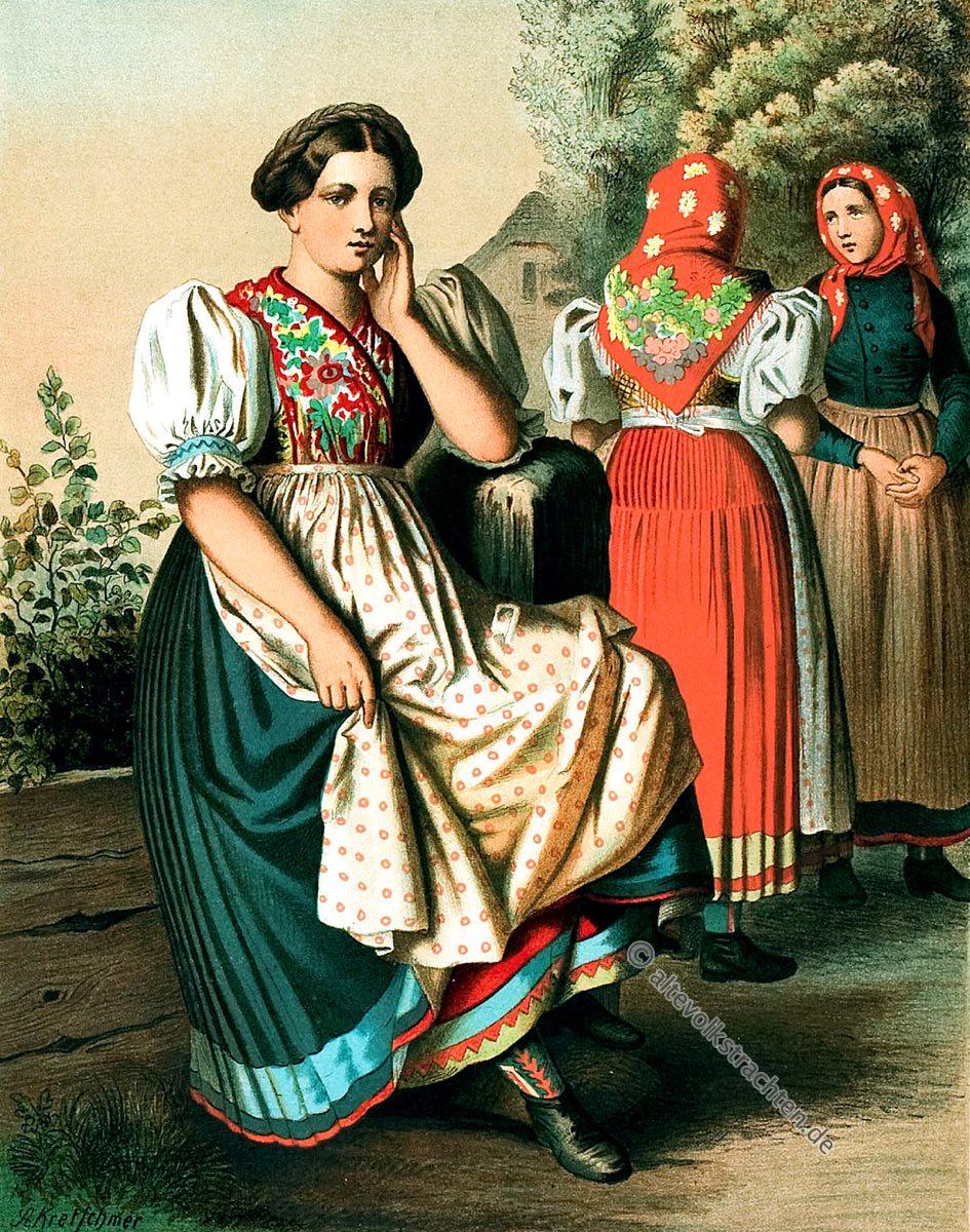 Frauentrachten, Czarnowanz, Oppeln, Opole, Schlesien, Volkstrachten, Albert Kretschmer