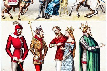Rüstung, Kriegstrachten, Kostüme, Mittelalter, Frankreich, Schnabelschuhe, Cote, Ritter, Auguste Racinet