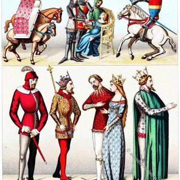 Bürgerliche und Kriegstrachten im 14. Jahrhundert.