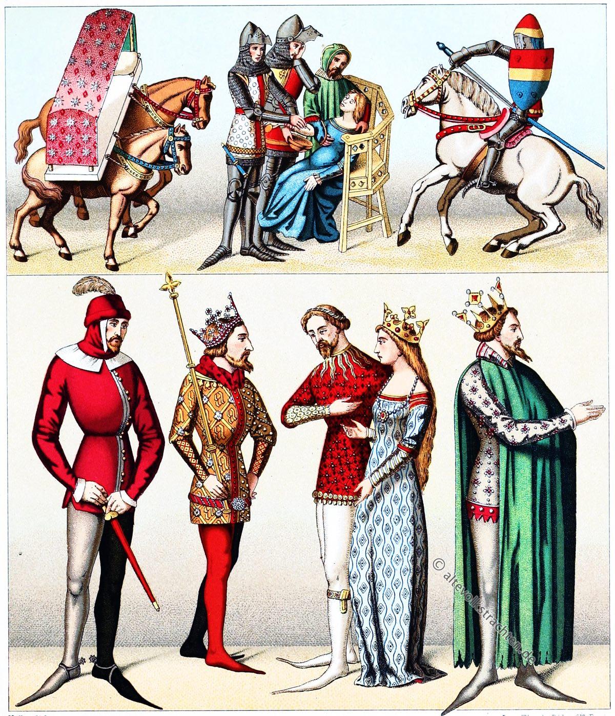 Kriegstrachten, Kostüme, Mittelalter, Frankreich, Schnabelschuhe, Cote, Ritter, Auguste Racinet