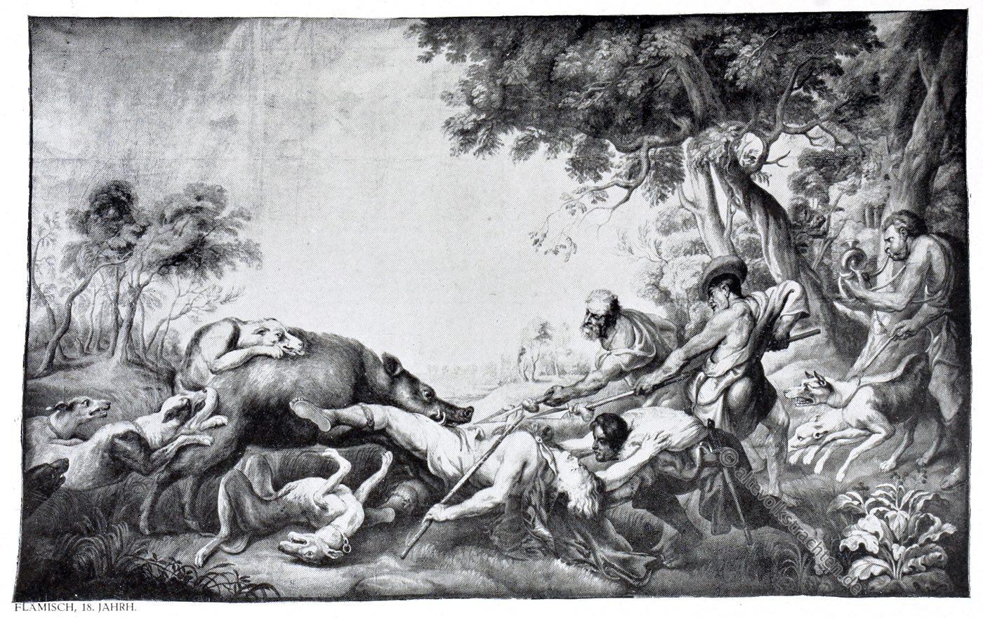 Gobelin, Barock, Eberjagd, Kunsthistorie, Gobelinsammlung, Flämisch, Gobelins, 17. Jahrhundert,