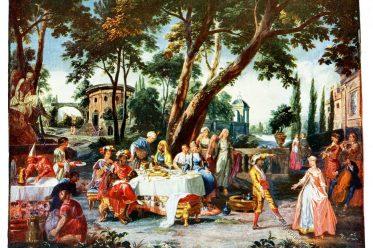Gobelin, Barock, Gastmahl, Mohrenfürsten, Kunsthistorie, Gobelinsammlung, Gobelins, 18. Jahrhundert,