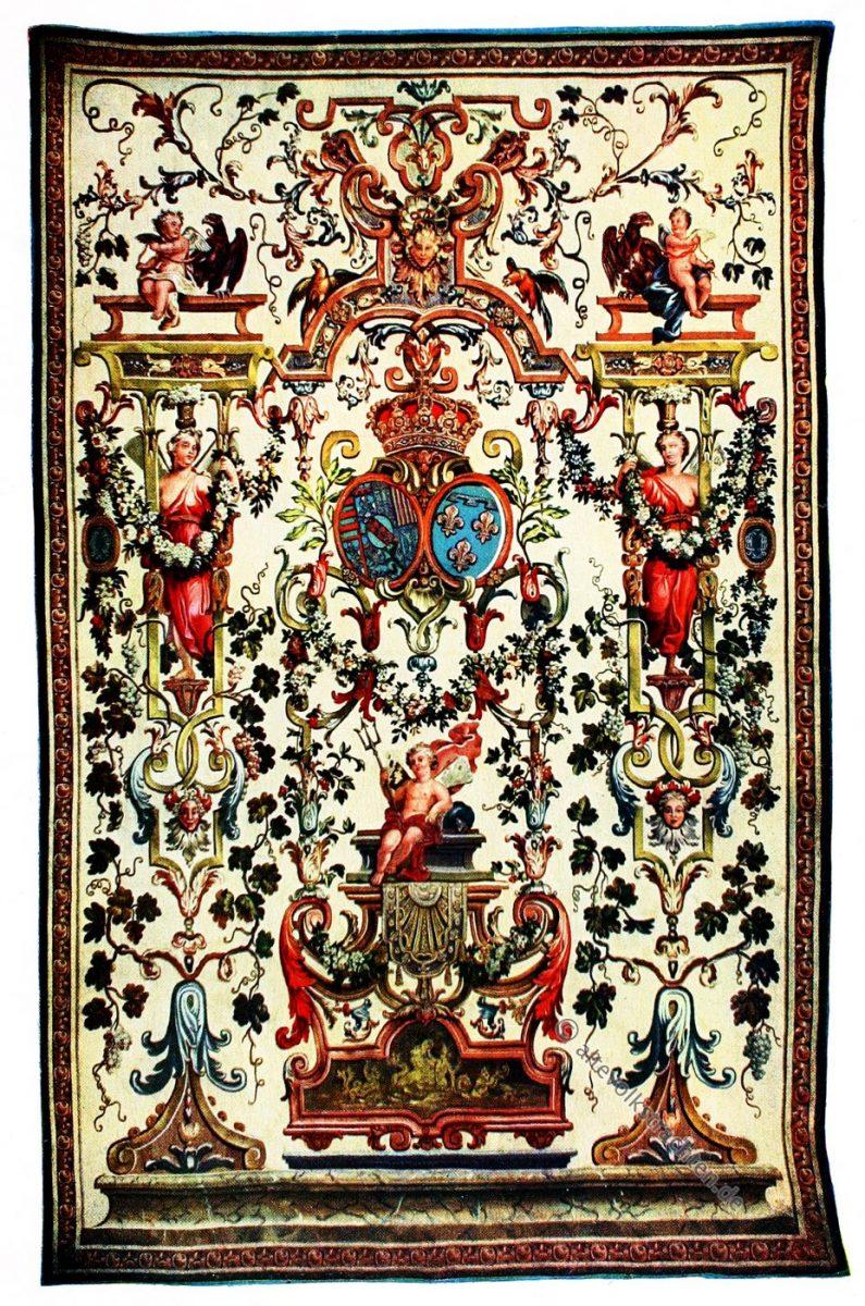 Gobelin, Barock, Rokoko, Grotesken, Allianzwappen, Lothringen-Orléans, Kunsthistorie, Gobelinsammlung, Gobelins, Lothringen, 18. Jahrhundert,