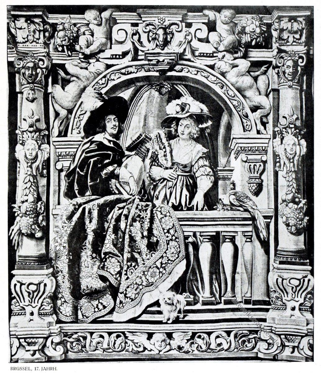 Gobelin, Barock, Laute, Kavalier, Dame, Kunsthistorie, Gobelinsammlung, Gobelins , 17. Jahrhundert, Wien