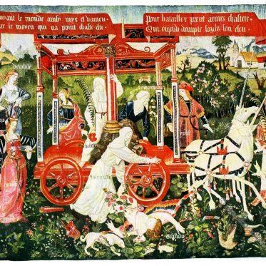 Gobelin der Renaissance.  Der Triumph der Keuschheit über die Liebe.
