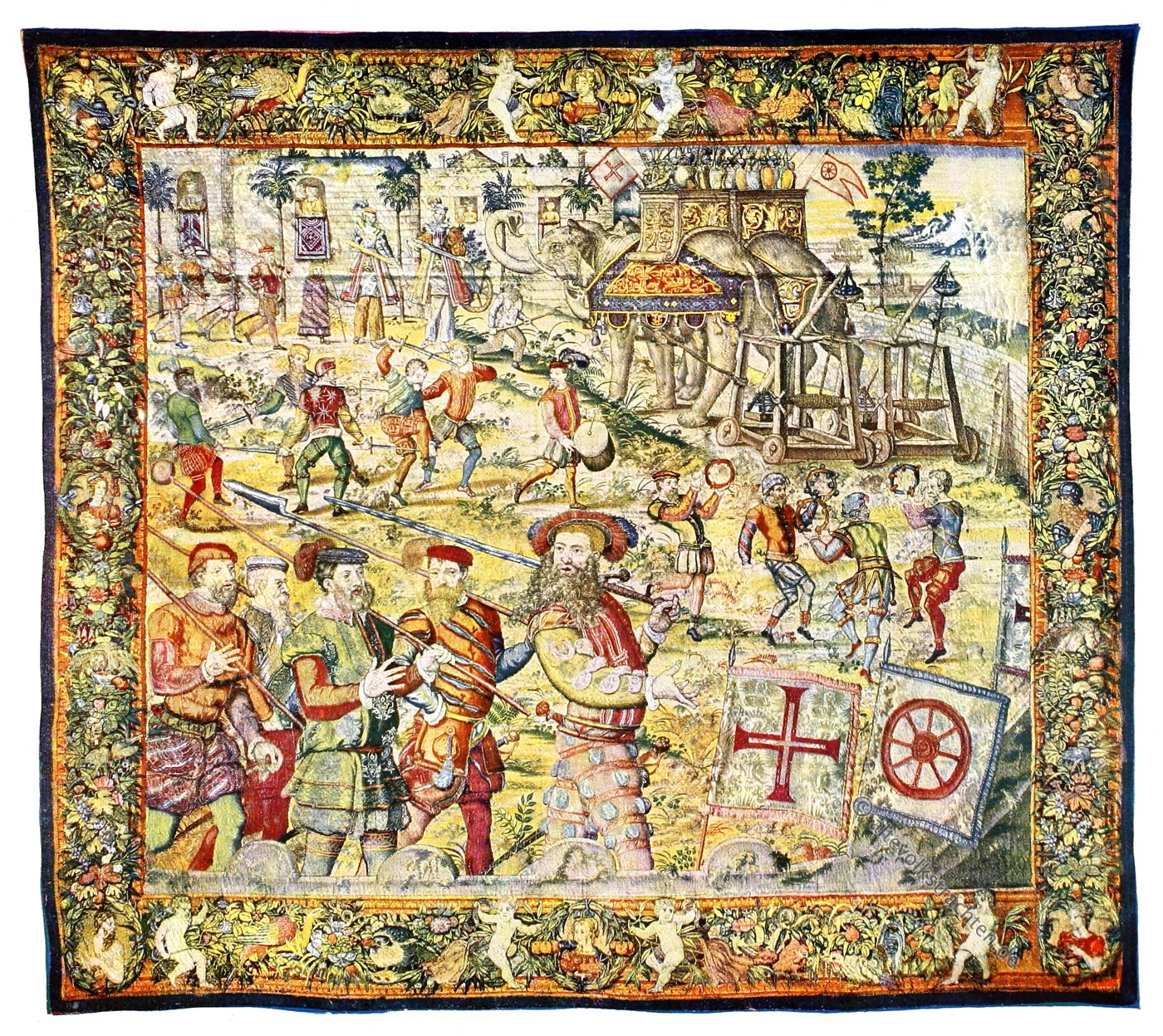 Gobelin, Renaissance, Triumphzug, Joao de Castro, Goa, Kunsthistorie, Gobelinsammlung, Brüssel, 16. Jahrhundert, Wien
