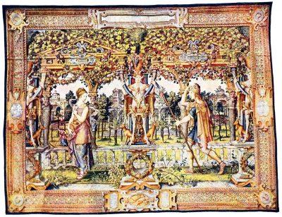Gobelin, Renaissance, Vertumnus, Pomona, Landmann, Kunsthistorie, Gobelinsammlung, Brüssel, 16. Jahrhundert, Wien
