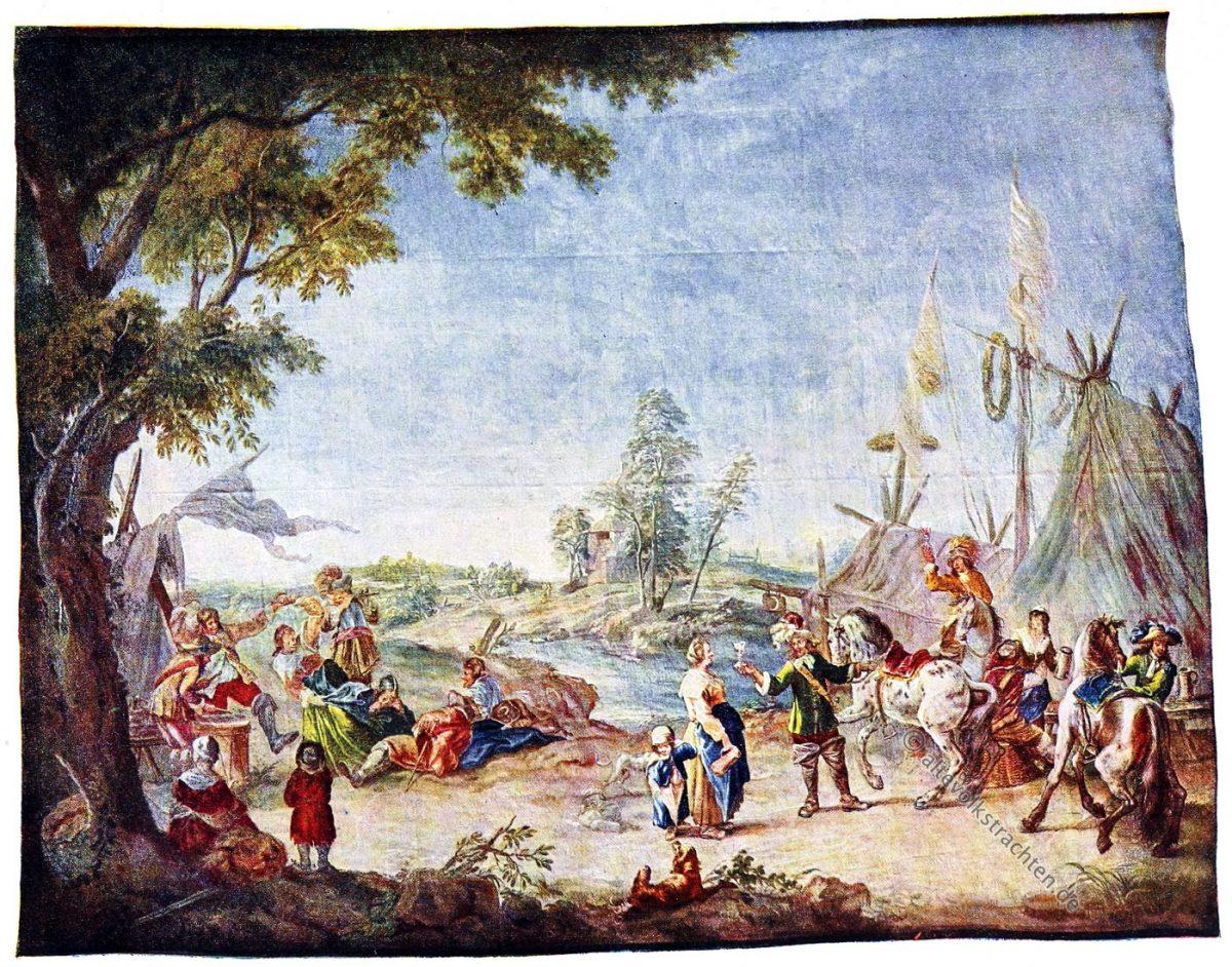 Gobelin, Rokoko, Barock, Zeltlager, Soldaten, Kunsthistorie, Gobelinsammlung, Gobelins, 18. Jahrhundert,