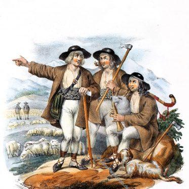 Goralische Hirten. Polnische Gebirgsbewohner der Karpaten.