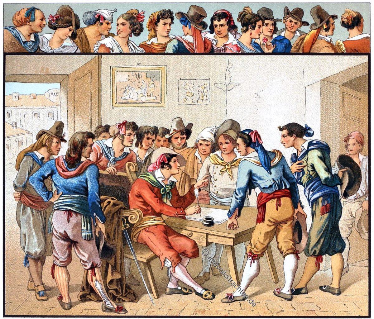 Italien, Volkstrachten, Trastevere, Rom, Römer, Trachten, Kostüme, Auguste Racinet,