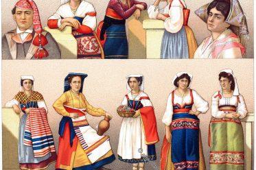 Italien, Volkstrachten, Ancona, Trastevere, Rom, Römer, Trachten, Kostüme, Auguste Racinet, Ostia