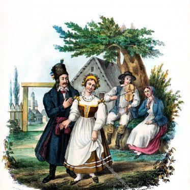 Landleute aus der Gegend von Posen, Polen.