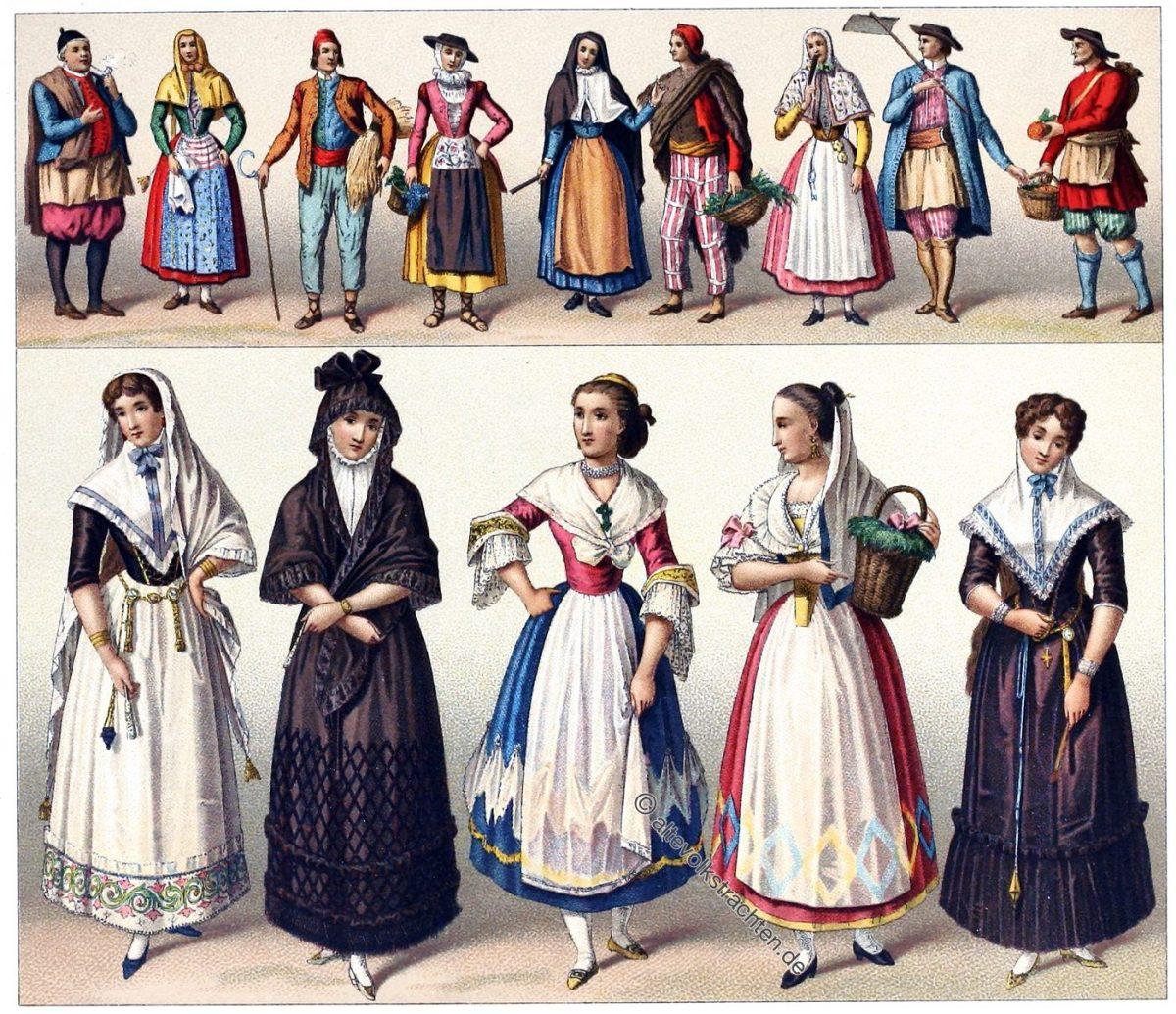 Rebozillo, Trachten, Volkstrachten, Balearen, Ibiza, Mallorca, Minorca, Pityusen, Espagne, Spanien, Racinet